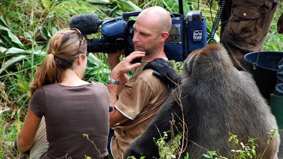 """Regisseurin Nicky Lankester, Kameramann Hans-Peter Kuttler und Cross-River-Gorilla-Dame Nyango während der Dreharbeiten im """"Limbe Wildlife Centre"""" in Kamerun. Bild: WDR/NDR Naturfilm/Ernst Sasse"""