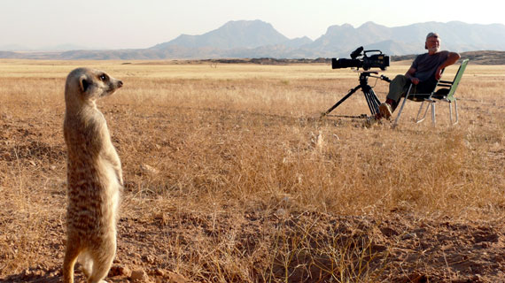 Der Tierfilmer Dirk Blumenberg strahlt schon keine Gefahr mehr für die Erdmännchen aus. Geduld und Ausdauer, waren 2 von vielen Dingen, die er und seine Frau brauchten. Bild: NDR/NDR Naturfilm 2010